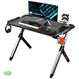 EUREKA ERGONOMIC Bureau Gaming R1S Bureau Gamer RVB Bureau pour Gaming pc Informatique Table Desk avec Tapis Souris Porte Gobelet Support Casque Noir 44.5''