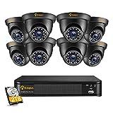 Anlapus 1080P 8CH 2TB H.265+ DVR Enregistreur 8PCS Caméra de Surveillance Extérieure IP66 2,0MP 20 M Vision Nocturne, Détection Intelligente & App Gratuite Accès à Distance Via Smartphone