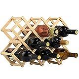 Étagère à vin en bois avec support de rangement pliable pour la maison et la cuisine - Bois naturel - 10 emplacements