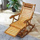 LNDDP Chaise Jardin inclinable Chaise berçante Pliante en Bois Bambou pour lit Bronzage Adulte Chaises Longues réglables inclinables pour terrasse, Piscine et Camping