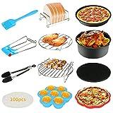 Accessoires pour friteuse à air 12 pièces Bestcool Kit pour friteuse à air de 8' Friteuse à air Actifry 4,2QT-6,8QT-UP avec moule anti-adhésif, tapis en silicone