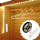 OriFiil Ruban LED 5V 3m Blanc Chaud, Veilleuse LED Automatique,Lampe Nuit Placard Rechargeable USB avec Détecteur Mouvement Bande, 3 Modes (Auto/On/Off) pour Armoire, escalier