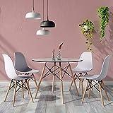H.J WeDoo Ensembles de Meubles de Salle à Manger, Ronde Table de Salle à Manger en Verre avec 4 Moderne Scandinaves Gris Chaises