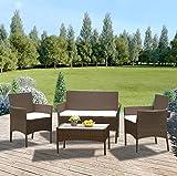 Anaelle Panana Ensemble Table en Verre + 3 Chaises en Rotin PVC Moderne -Imperméable à l'eau -Résistant aux Rayons UV pour Jardin, Balcon, Terrasse, Poids: 25kg (Brun)