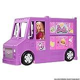 Barbie Mobilier Food Truck pour poupées, véhicule violet transformable avec plus de 25 accessoires, jouet pour enfant, GMW07