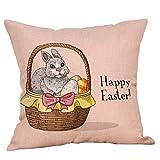 Housses de Coussin de Pâques,Taie d'oreiller Festival Decor Throw Pillow Imprimé Lapin Décoration Bringbring