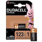 Pile lithium haute puissance Duracell 123 3V, pack de 1 (CR123 / CR123A / CR17345), conçue pour une utilisation dans les caméras Arlo, capteurs, verrous sans clé, flashs photo et lampes de poche