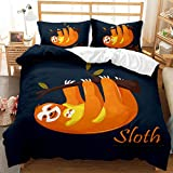 SSIN Parure de lit en microfibre avec housse de couette pour lit simple, double, super king size, motif animal de dessin animé 3D paresseux pour enfants, adolescents garçons (C6, 135 x 200 cm)