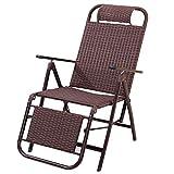 Nouveau Chaise pliante en rotin à trois plis Bureau inclinable Pause-déjeuner Pause-déjeuner Chaise Chaise paresseuse Chaise pour personnes âgées Chaise extérieure en osier Chaise de plage et de loisi