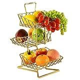 Fruit Basket stand, 3 niveaux de stockage des fruits Countertop panier, fruits légumes Organisateur Porte-bagages for la cuisine - twoside/or Chyang (Color : Gold)