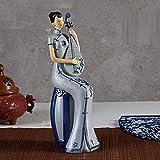 Sculpture Design Résine Chinoise Artisanat Style Chinois Classique Officiel Femme S Ornements Décor À La Maison Soft-Blue_Tea_Girl_23-35Cm Blue Sitting Pipe