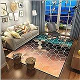 PANGLDT Tapis Chic Noble Moderne Design -Tapis Noir doré Vert foncé- Salon Chambre Maison Tapis Coussin de Chaise d'ordinateur-80X120cm