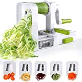 Sedhoom Spiralizer 5 Lames Coupe-légumes Spirale de légumes, Pliable trancheuse Spirale, courgettes Nouilles et légumes Pâtes et Spaghetti Maker pour Low Carb/Paléo/Repas sans Gluten