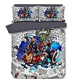 AYMAYO Housse De Couette Marvel The Avengers, Ensemble De Literie Spiderman Captain America Hulk, pour Garçons Et Filles (140 X 200 Cm) (140 x 200 cm,Style 10)
