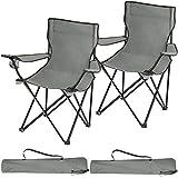TecTake 800829 Lot de 2 Chaises de Camping Pliantes Portables 2 Places avec Porte-Gobelets et 2 Sacs de Transport – Diverses Couleurs (Gris)