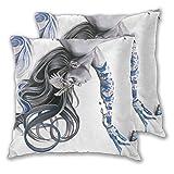 Strawberryran Taies d'oreiller carrées, Blue Girl Butterfly 2 Pack Coussins décoratifs Housses de Coussin pour canapé-lit Voiture 16 'x16'