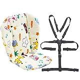 Coussin doublure de siège pour poussette/chaise haute pour bébé Tapis de protection pour siège Sangles pour chaise haute et résistantes (harnais à 5 points) 1 costume (girafe)