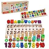 Felly Jouet Montessori Mathématiques Bébé 1 2 3 Ans, Jeux Éducatif Puzzles en Bois, Apprendre à Compter et Les Couleurs Jeu Reconnaissance de Numéro la Forme Puzzle, Parfait Cadeau Enfant