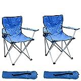 Mojawo Lot de 2 chaises pliantes pour la pêche/le camping avec porte-gobelet et sac de transport - Charge maximale:120kg - Bleu