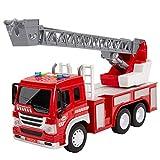 HERSITY Camion de Pompier Enfant Jouet Sonore et Lumineux avec L'échelle Extensible Grand Friction Voiture Pompier Garçon Fille 3 4 5 6 Ans