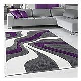 Tapis Design et Moderne Carré Diamond Vagues Violet Salon adapté au Chauffage par Le Sol