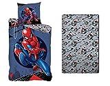 AYMAX S.P.R.L. Parure de lit 3 Pièces Spiderman - Housse de Couette 140x200 cm + Taie d'oreiller 63x63 cm + Drap-Housse Assorti 90x190 cm