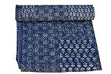 Sophia-Art California King/King/Twin Size Bohemian Hand Block Ajrak Vintage Imprimé Kantha Couvre-lit, housse de canapé, couvre-lit cousu à la main (Bleu Patch imprimé)
