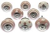 Assortiment de 8 boutons de porte de placard Mango Tree - Vieux rose et blanc, pois et rayures - En céramique - Produit (MG-729) de marque déposée