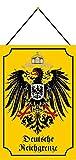 Rahmenlos Plaque métallique bombée avec inscription en allemand 'FS Armoiries Deutsche Reichgrenz' avec cordon de serrage Jaune 20 x 30 cm
