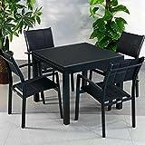 Lazy Susan Table Aluminium et Verre Chloe et 4 Chaises Milly - Noir | Table à Manger Extensible en métal 180cm