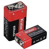 Kratax 9V 850mAh Batterie Li-ION Rechargeable (2 Piles) Certification pour Alarme Détecteur de Fumée, Alarme Incendie, Multimètre, Radio-Microphone