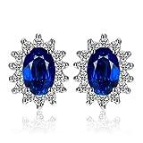 JewelryPalace 1.5ct Elégant Diana Princesse Kate Middleton Boucles d'Oreilles Clous et Puces Femme en Argent Sterling 925 en Saphir de Synthèse Bleu