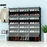 PREMAG Range-Chaussures portatif, Noir Portes Transparentes, Tablette modulaire Gagner de la Place, Porte-Chaussures Chaussures, Bottes, Pantoufles 3 * 5