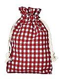 Lot de 12 petits sacs en coton de style campagnard avec cordelière de serrage en coton, emballage cadeau, décoration de table, pour la fête de la bière, rouge, 20x12 cm