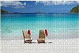 Deux chaises en teck avec des chapeaux de Noël sur une plage des Caraïbes puzzle en bois exotique adulte cadeau créatif jouets Puzzles décor à la maison, 1000 pièces, 75 * 50 cm