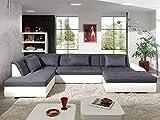Bestmobilier - Utah - Canapé d'angle panoramique XXL en U - Convertible - en Simili et Tissu - Gauche