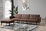 Bestmobilier - Angus - Canapé Convertible avec Pouf - 4 Places - Style Industriel