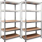 Lot de 2 Étagère charge lourde métallique de rangement modulable 180x90x40cm max 875kg 5 tablettes acier/MDF rangement garage atelier cave