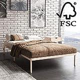 Hansales Sommier Simple avec Pieds 120x200 cm - Cadre de Lit Pliant en Bois - Lattes pour Sommier en Bois Massif FSC 250 kg