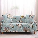 Patchwork Housse de canapé 3 Coussins de canapé, Housses de canapé Lily Butterfly Print Housses de canapé Extensibles Bleu Clair avec 2 taies d'oreiller pour Fauteuil Loveseat Protector pour Le Salon