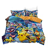 Parure De Lit Ensemble 3 Pièces Pokémon Pikachu Housses De Couettes 135X200 Cm avec Fermeture Éclair 100% Polyester avec 2 Taies d'oreiller 50X70 Cm Convient pour Un Lit Simple