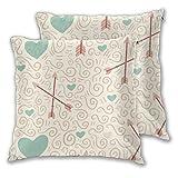 Lewiuzr Taies d'oreiller carrées, Coeurs flèche Lot de 2 taies de Coussin décoratives Housses d'oreiller pour canapé Chambre Voiture 40X40 Cm