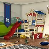 WICKEY Lit superposé CrAzY Castle Lit double entfants 90x200 Lit mezzanine avec toboggan, échelle à grimper, toit et sommier à lattes, rouge-bleu + toboggan rouge