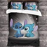 Lilo and Stitch Parure de lit simple 2/3 pièces pour enfant avec housse de couette, confortable et facile d'entretien