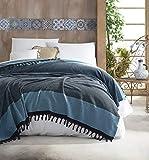 Belle Living Nefes Couvre-lit de qualité supérieure - Idéal pour lit et canapé - 100 % coton - Franges faites à la main - 200 x 250 cm (turquoise)