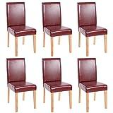 Mendler Lot de 6 chaises de séjour Littau, Simili-Cuir, Brun Rouge, Pieds clairs