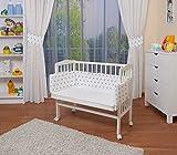 WALDIN Lit cododo pour bébé/berceau avec matelas et tour de lit,bois blanc laqué,16 modèles disponibles,Surface de couchage extra large : L 90 x l 55,couleur du textile blanc/astre gris