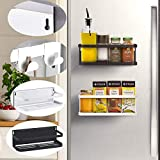 Étagère à suspendre pour réfrigérateur, réfrigérateur, étagère magnétique - Pour épices - Avec étagère - Avec crochets - Rangement magnétique