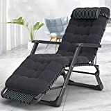 Chaise Longue Pliante Chaise Longue Lit Simple Siesta Chaise Pliante En Plein Air Chaise De Plage Lit Accompagnant Bureau Pause Déjeuner Jardin Transat-Rod Noir Stripe Les Deux Tubes + Coton Perlé