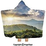 Gustave Tomlinson Couverture à Capuche, Nuages de Soleil Levant sur Forest Hill Région boisée Paradisiaque Vue Vue Vert Olive Bleu Jaune